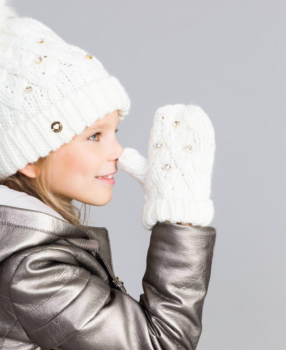 Moufles en maille torsadée avec strass Off White Enfant GA8GCT-0S