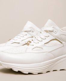 Sneakers in similpelle e maglia Avorio Donna 201LLPZBB-04