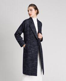Manteau en drap à chevrons avec ceinture Jacquard Noir / Bleu Nuit Femme 192ST2100-05
