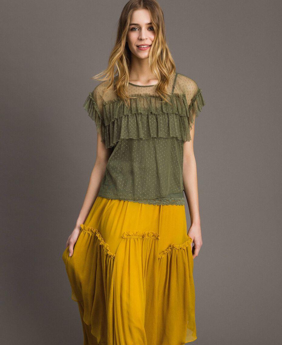 """Blouse en tulle avec top combinette Vert """"Vert Olive"""" Femme 191ST2070-02"""
