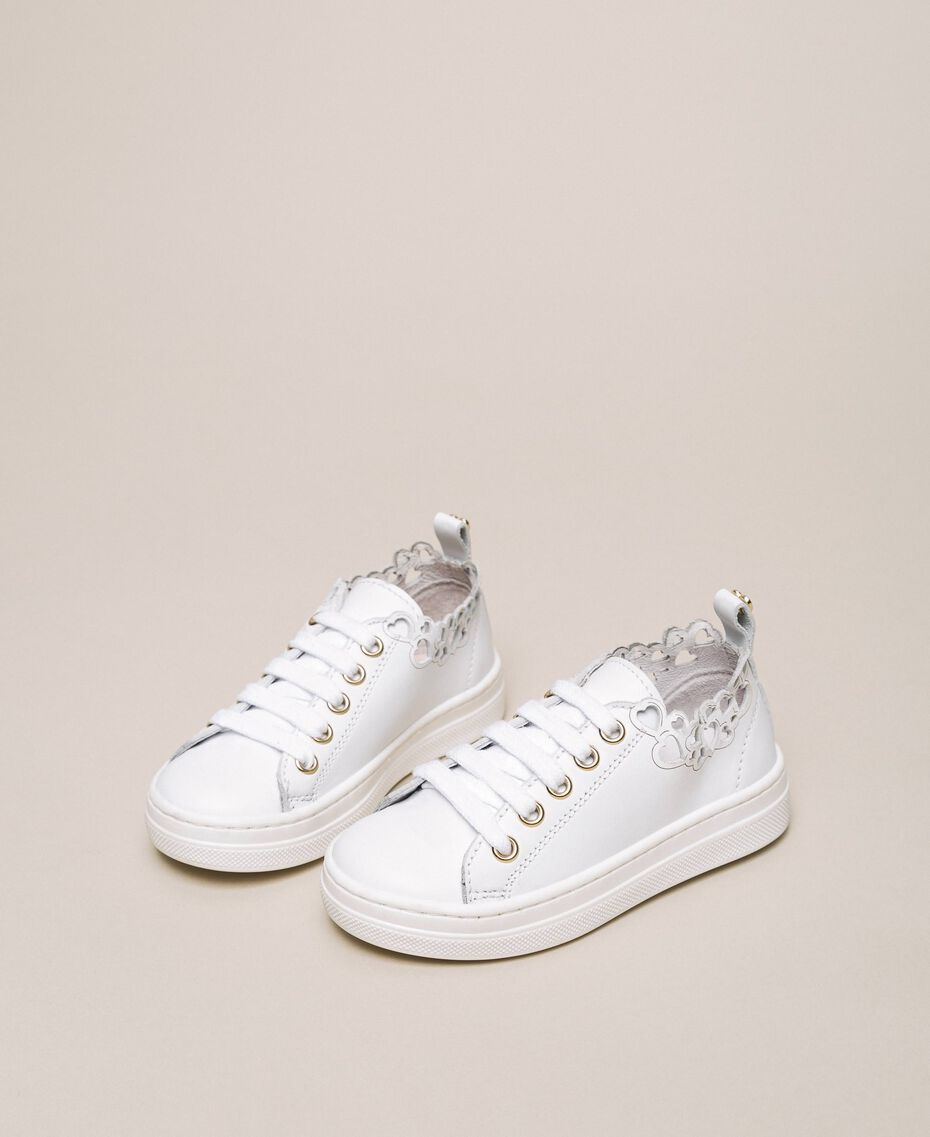 Nappa leather trainers with embroidery White Child 201GCB070-01