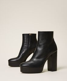 Platform leather ankle boots Black Woman 202TCP152-01