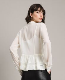 Georgette and lace blouse White Snow Woman 191TP2372-03