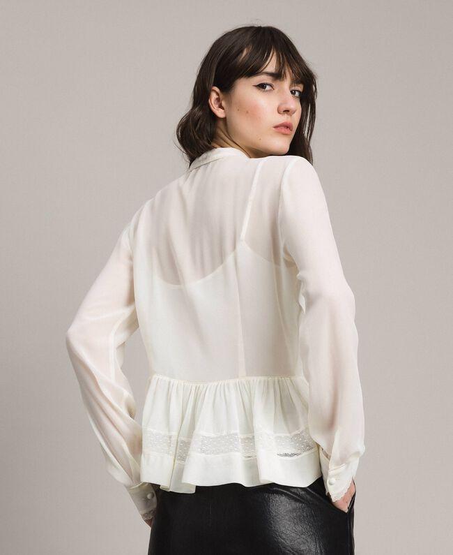 Georgette-Bluse mit Spitze Weiß Schnee Frau 191TP2372-03