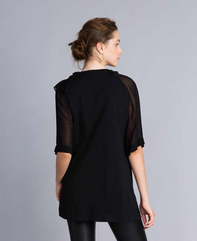 Maxi t-shirt en jersey avec ruches Noir Femme PA82DE-04