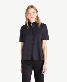 Hemd aus Popeline Schwarz Frau TS82ZD-01