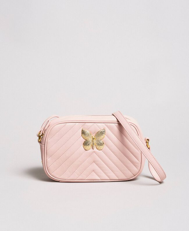 Matelassé leather shoulder bag Pink Pearl Woman 191TA7195-01