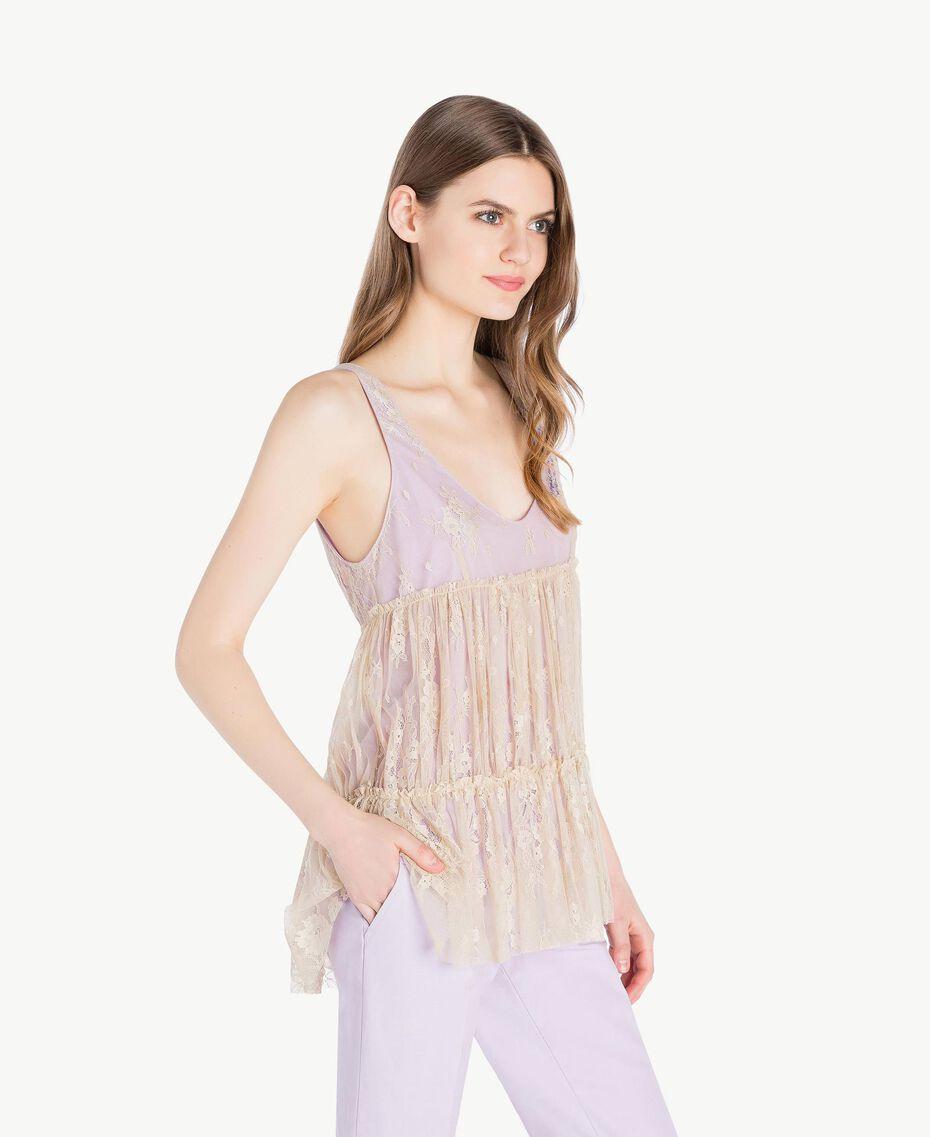 Lace top Two-tone Ecru / Violet Woman PS821E-02