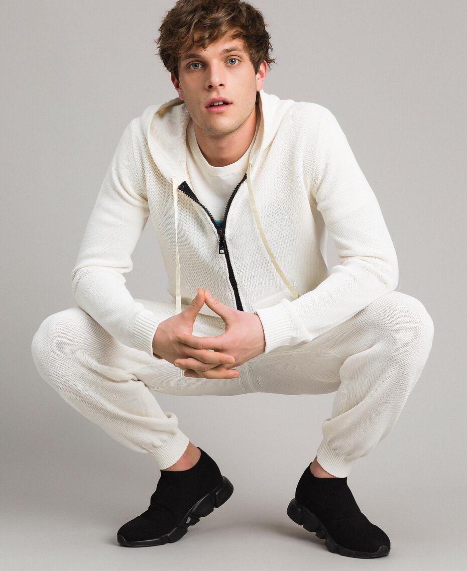 Sweat shirt à capuche en maille de coton mélangé Blanc Opaque Homme 191UT3080-0T