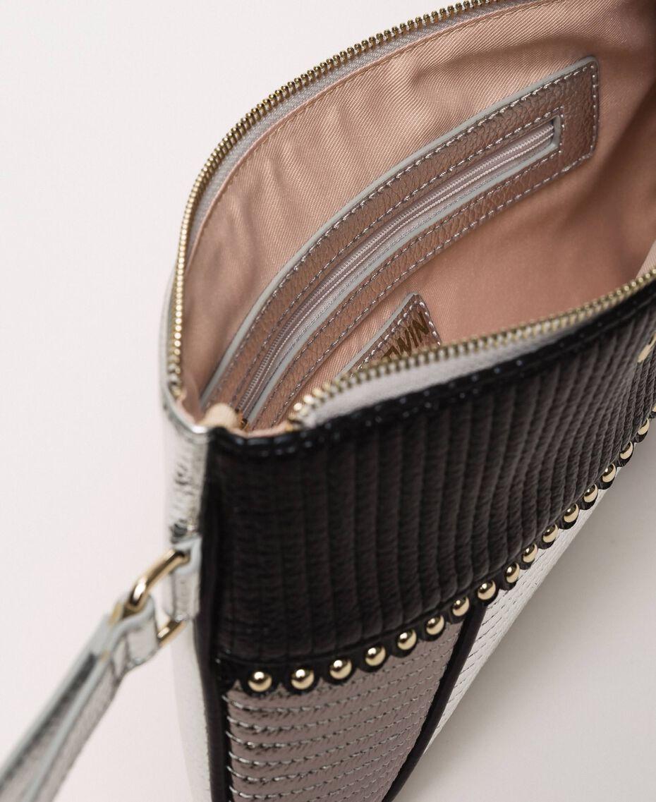 """Multicolour faux leather pochette Multicolour Black / """"Gun Metal"""" Grey / Silver Woman 201MA7025-05"""
