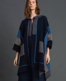 Wool blend cape with jacquard patterns Night Blue Chevron Jacquard Woman 192ST3030-03