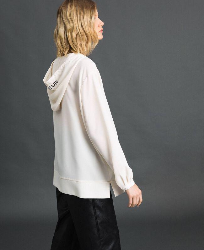 Blusa in crêpe de Chine con cappuccio Bianco Neve Donna 192ST2080-03