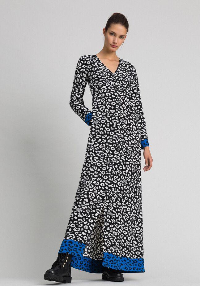 Vestido largo con animal print