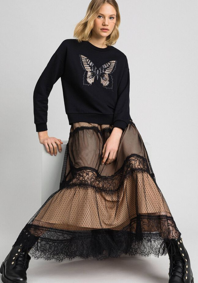 Tulle, Valenciennes lace and plumetis skirt
