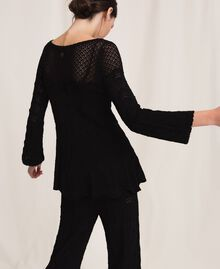 Lace stitch jumper Black Woman 201TP3211-03