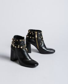 Faux leather ankle boots with studs Black Woman DA8PEJ-02