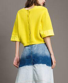 Cardigan-Pullover mit Details aus Popeline Zitronengelb Frau 191ST3060-02