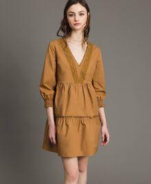 """Robe en popeline avec insertions en dentelle Beige """"Savane"""" Femme 191ST2046-01"""