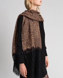 Lace and animal print stole Camel Animal Print Woman 192TO5374-0S