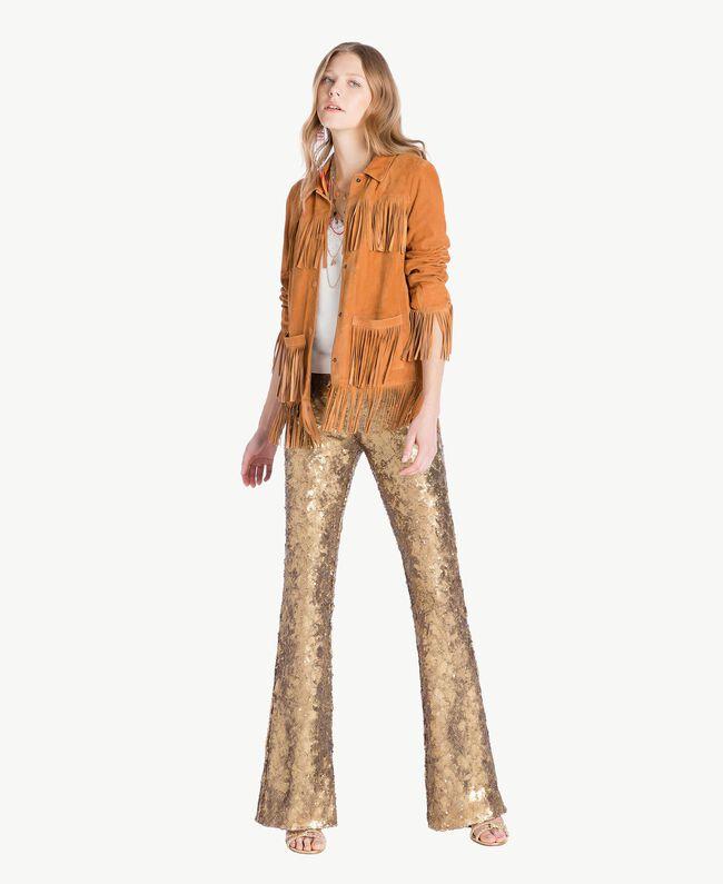 Pantalon full paillettes Jaune Or Femme TS82EQ-05