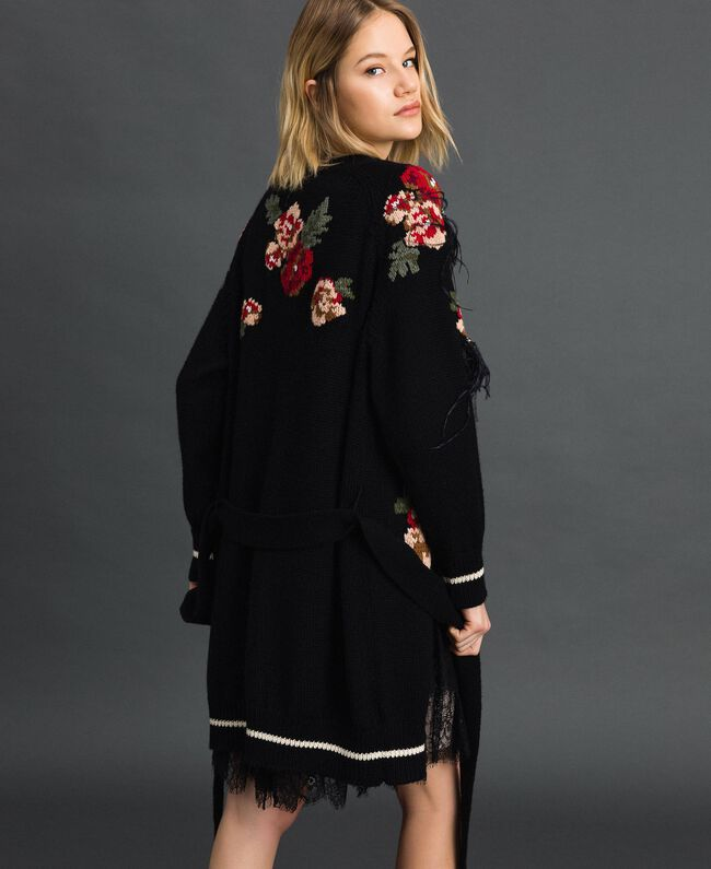Maxi cardigan with floral jacquard and embroidery Black Woman 192TP3322-03