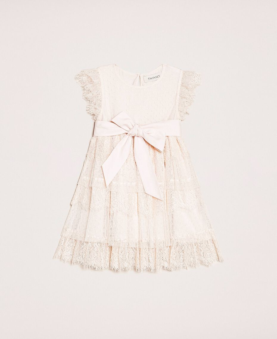 Tulle and lace flounce dress Bud Pink Child 201GB2Q8A-01