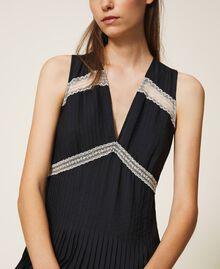 Длинное плиссированное платье с кружевом Черный женщина 202TP2133-05