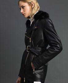 Perfecto long en similicuir avec ceinture Noir Femme 192MP2030-02