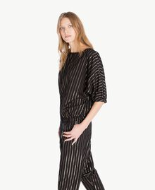 Jacquard blouse Black Jacquard / Gold Stripes Woman TS82VD-02