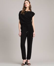 Pantaloni jogging in lurex Nero Donna 191MP2026-02