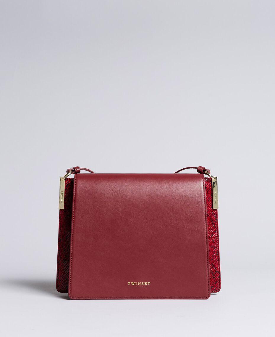 Big animal print shoulder bag in smooth leather Bicolour Burgundy / Burgundy Python Woman AA8PG3-02