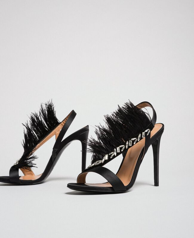 Sandales en satin avec plumes Noir Femme 192TQP050-01