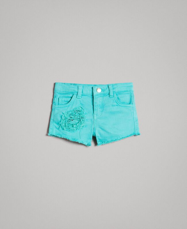 """Stretch bull shorts with lace """"Island Paradise"""" Light Blue Child 191GB2060-01"""