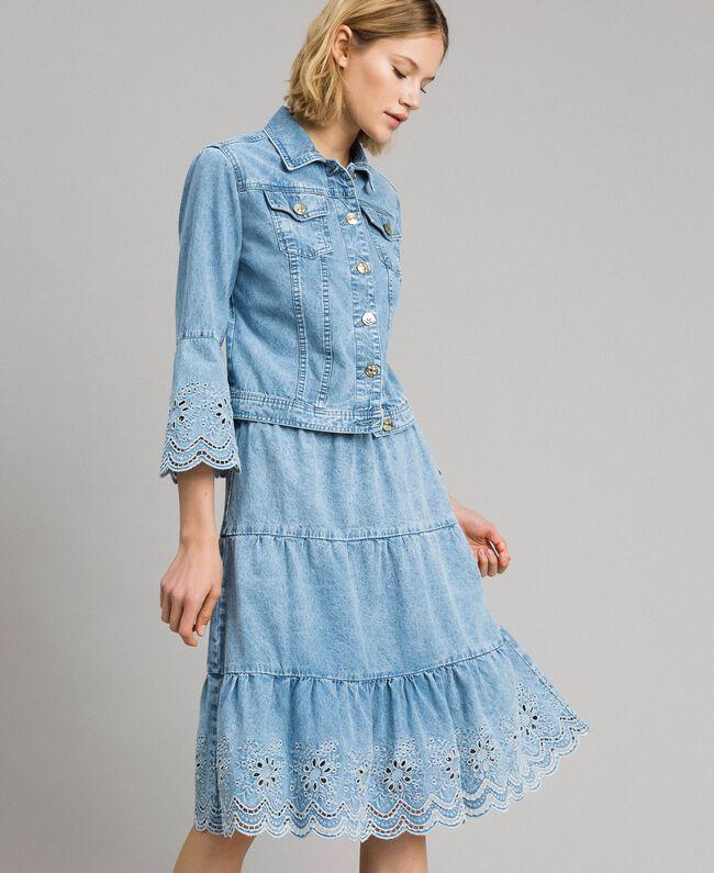 Mid-length skirt with broderie anglaise and flounces Denim Blue Woman 191MP2011-01