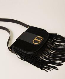 Leather shoulder bag with fringes Black Woman 212TB7120-02