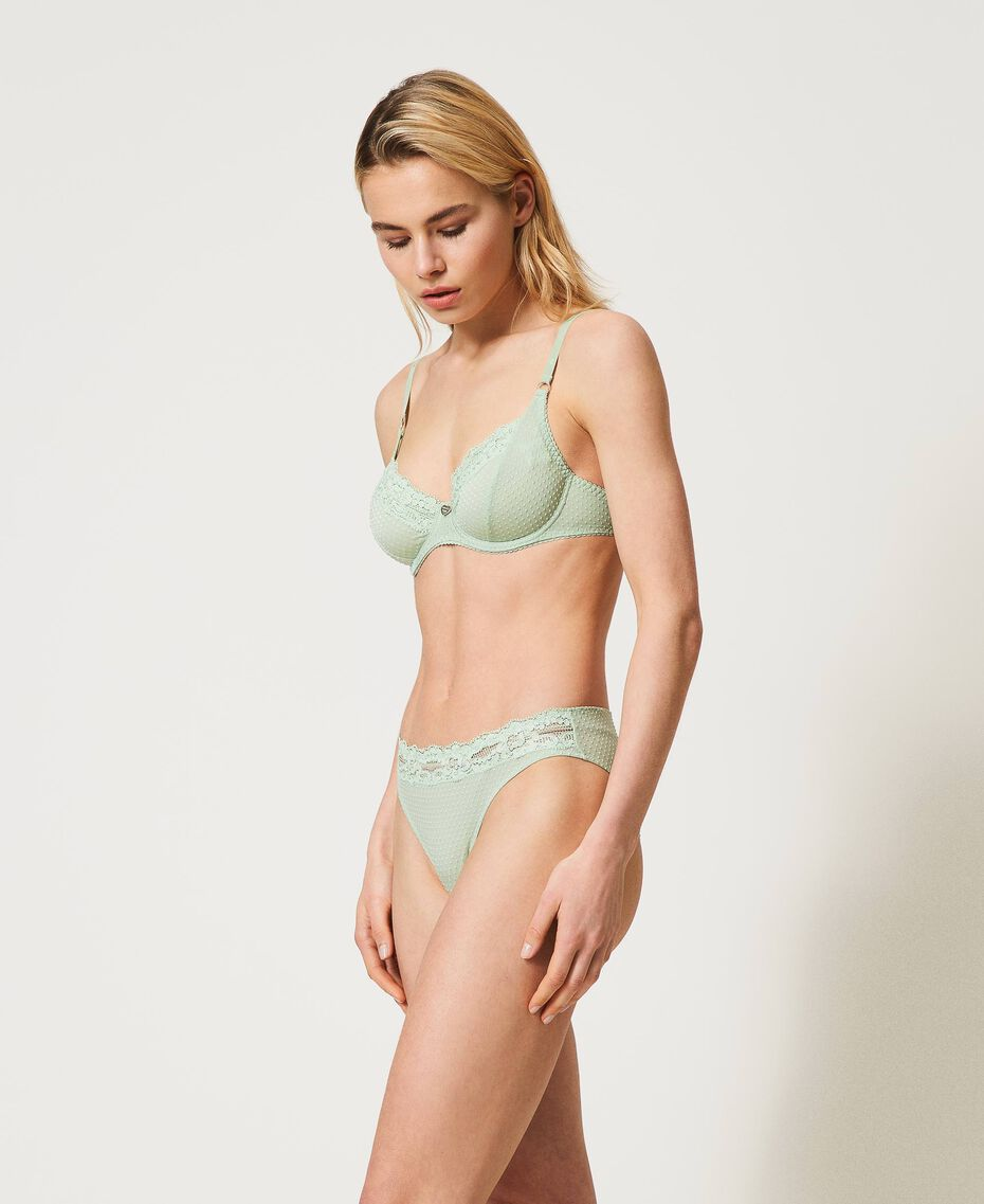 """Jacquard underwire bra with lace """"Pastel Green"""" Woman 211LL6255-01"""