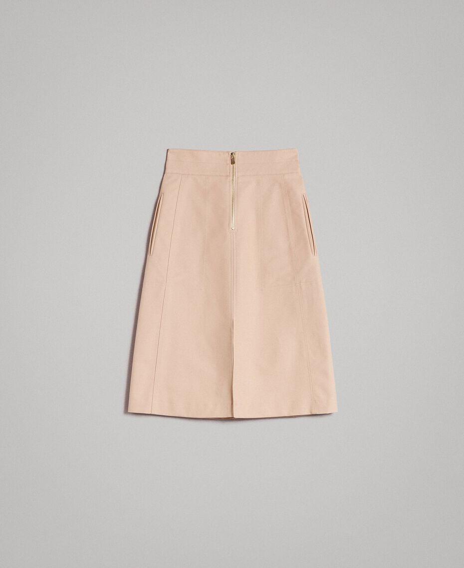 Jupe mi-longue en coton technique Beige Nougat Femme 191TP2183-0S
