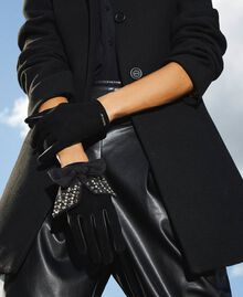 Leather gloves with bow Black Woman 202TA4354-0T
