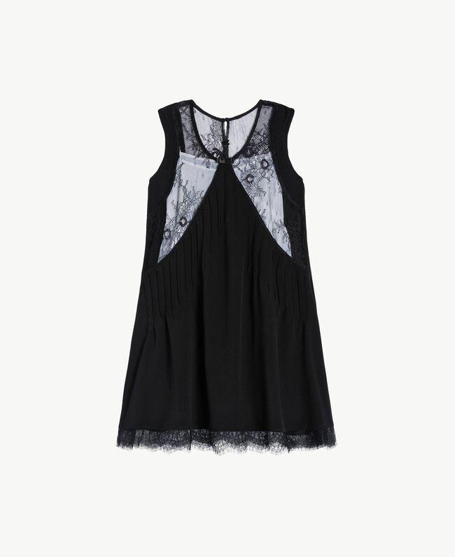 Kleid mit Spitze Zweifarbig Schwarz / Papyrusweiß Kind GS82EE-01