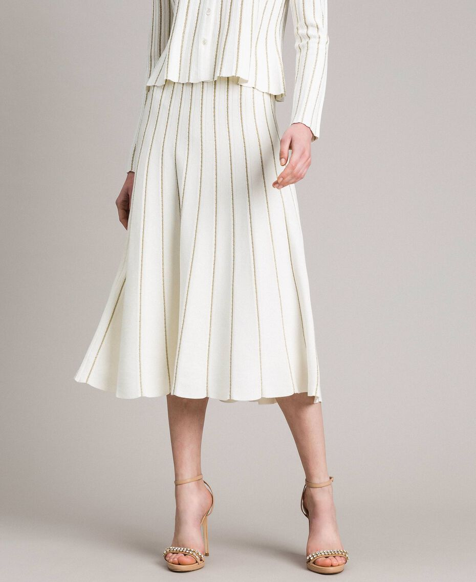 Mid-length skirt with lurex stripes White Snow Woman 191TP3253-02