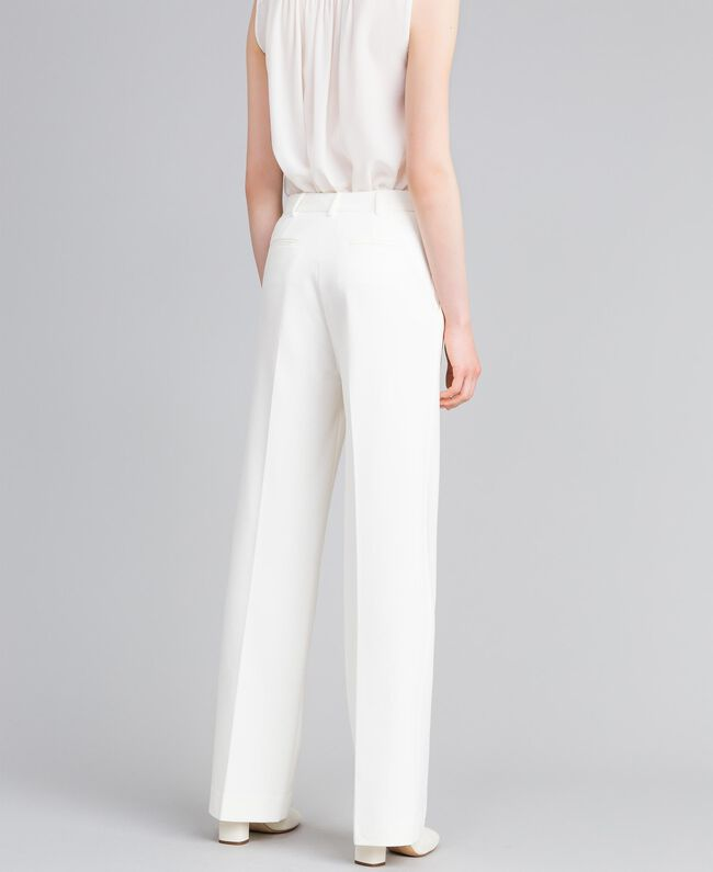 Pantalon en point de Milan Blanc Neige Femme PA8218-03