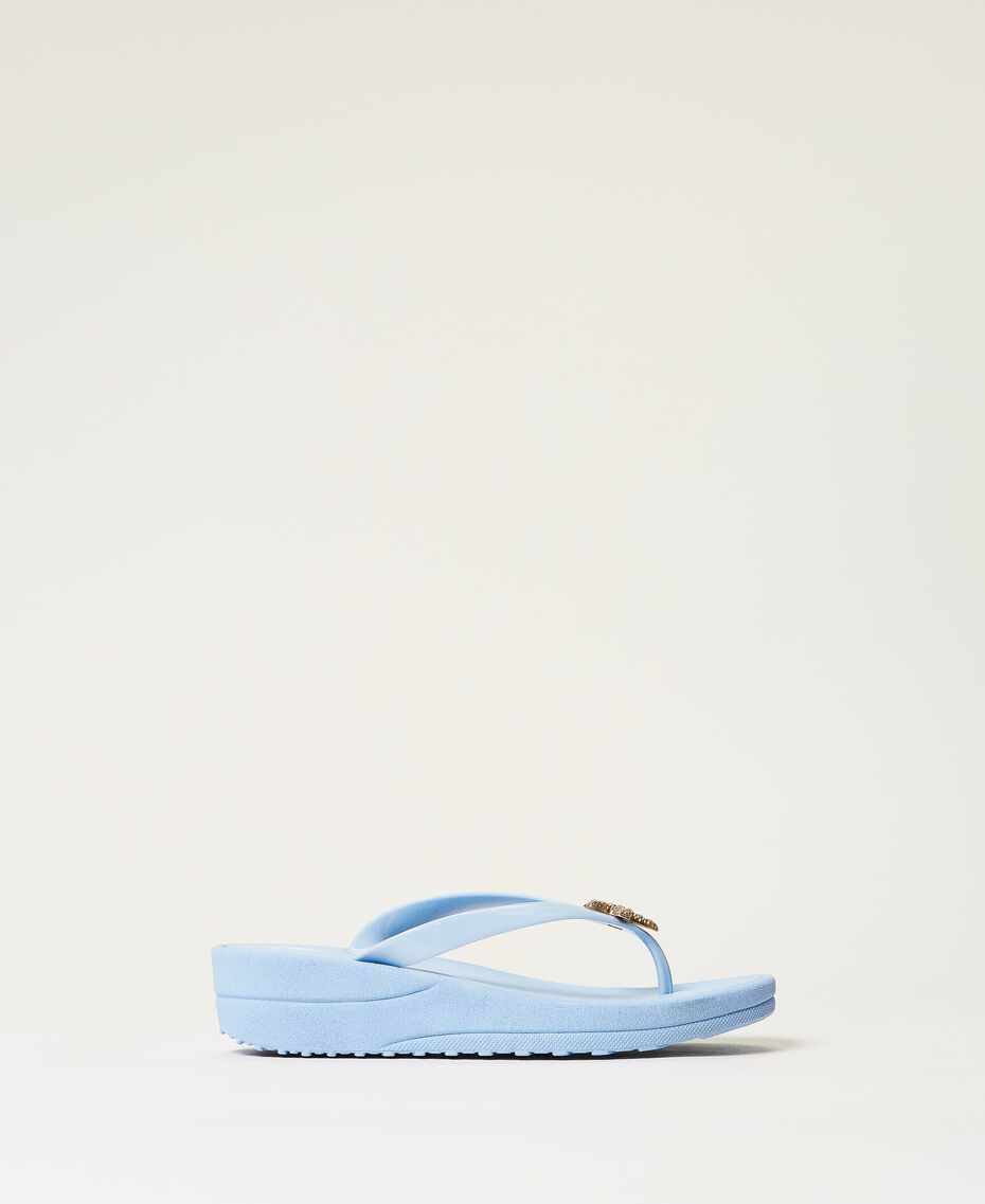 "Thong sandals with jewel detail ""Sky"" Blue Woman 211LMPZPP-02"