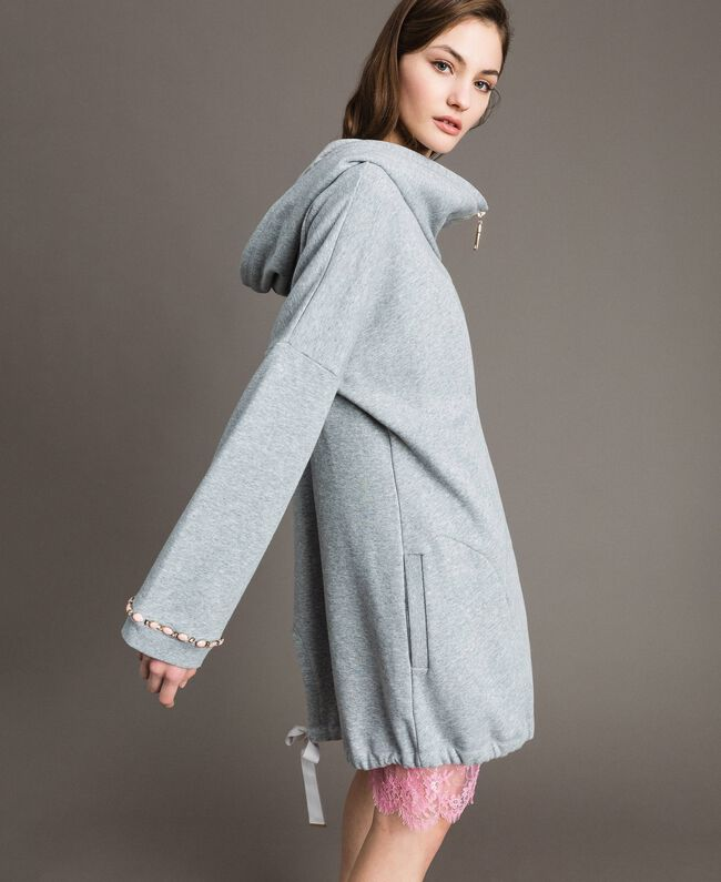 Fleece parka with bezels and rhinestones Light Gray Mélange Woman 191MP2321-01