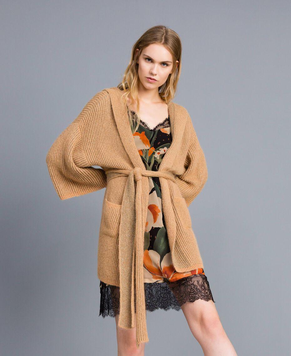 Cardigan en maille lurex Camel Or Femme TA832B-02