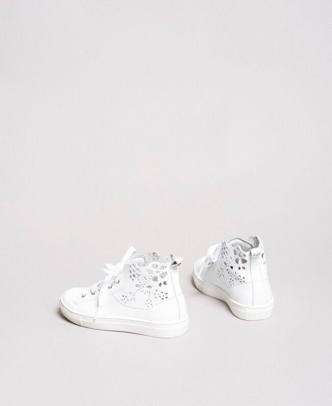 Nappa-Sneakers mit perforierten Details Weiß Kind 191GCJ172-03