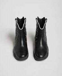 Hohe Cowboy-Sneakers mit Stickereien Schwarz Frau 192TCT114-05