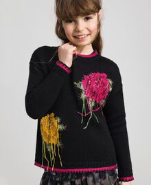 "Wool blend jumper with rose inlay Black / ""Candy"" Fuchsia Child 192GJ3020-01"