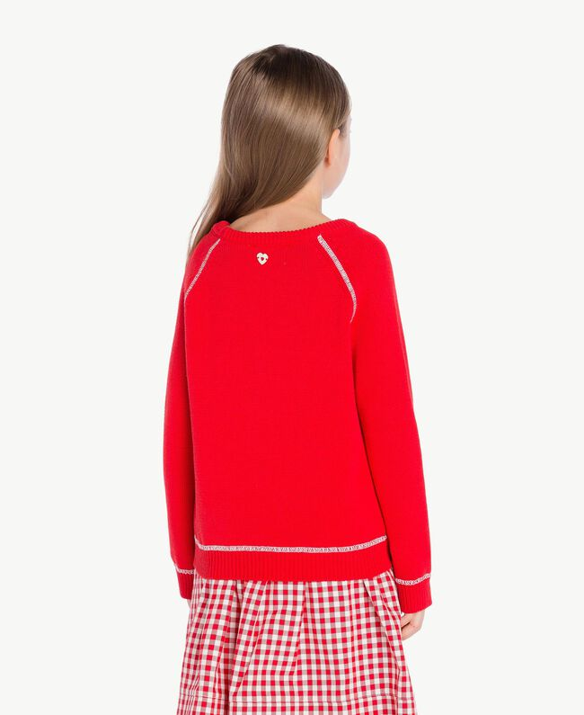 Pull broderie Bicolore Rouge Grenadier / Blanc Papyrus Enfant GS83FA-04