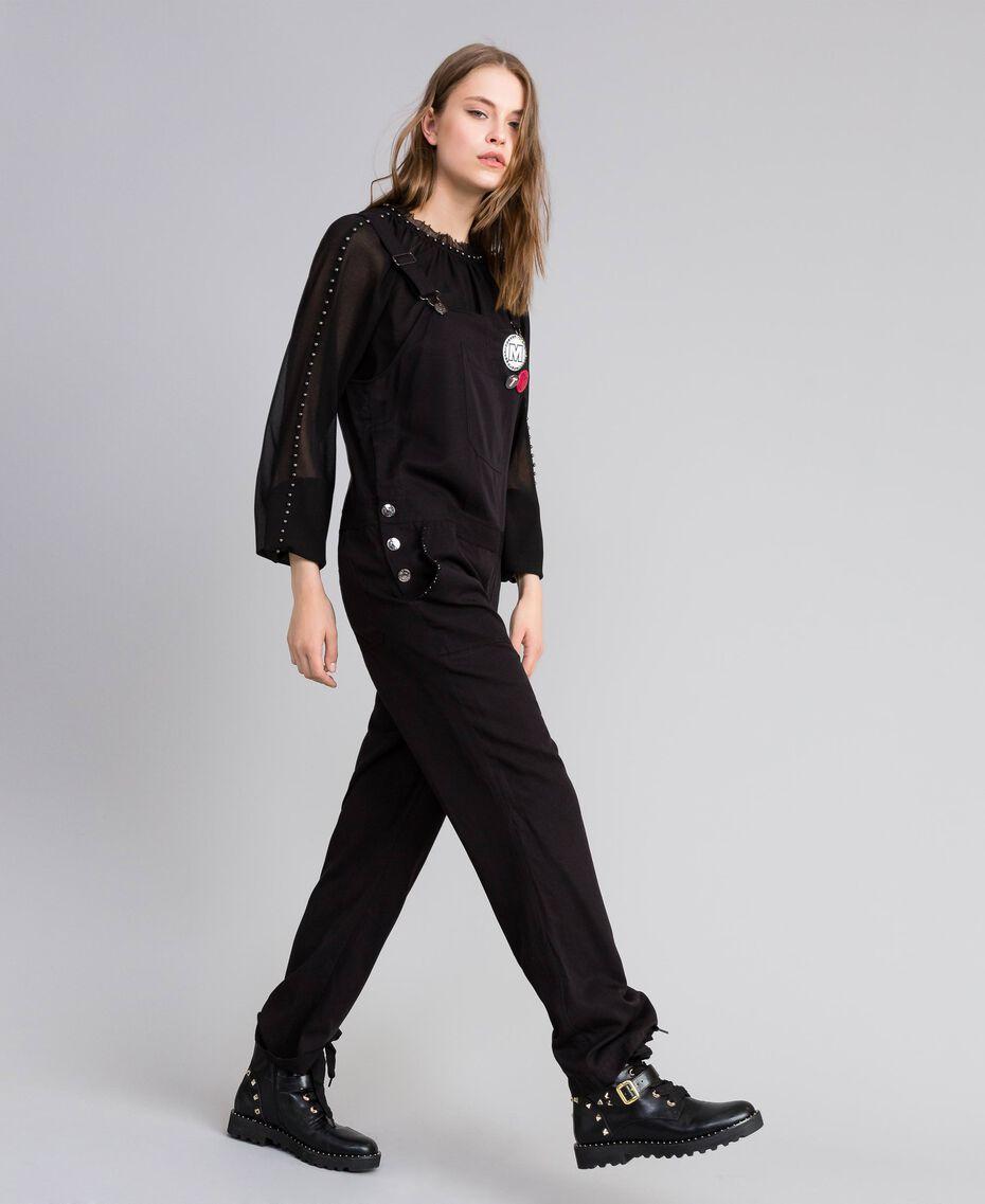 Salopette avec poche avant et broches Noir Femme JA82S1-02