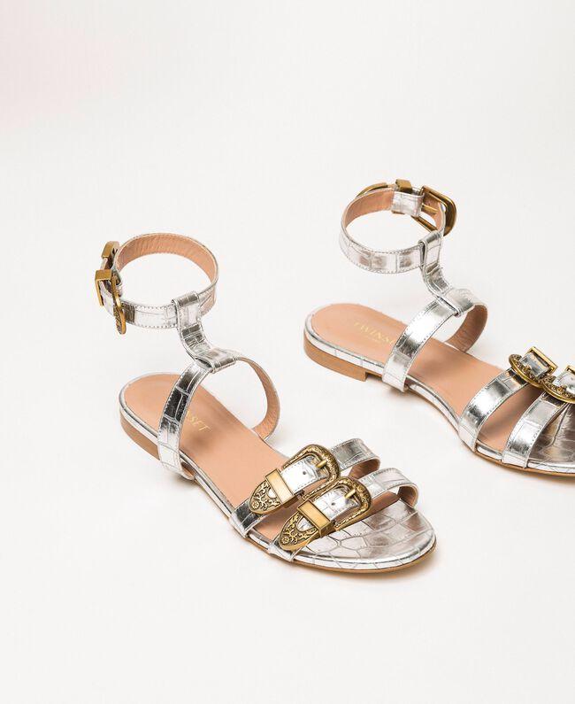 "Flache Sandale aus Leder mit Krokoprägung Print Kroko ""Titan""-Grau Frau 201TCP054-01"